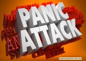 Pannic Attack - the Words in White Color on Cloud of Red Words on Orange Background.