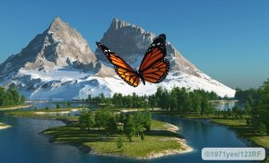 69062975 - butterfly on the background of a mountain landscape - thyroid gland is like a butterfly in the anterior region of the neck.