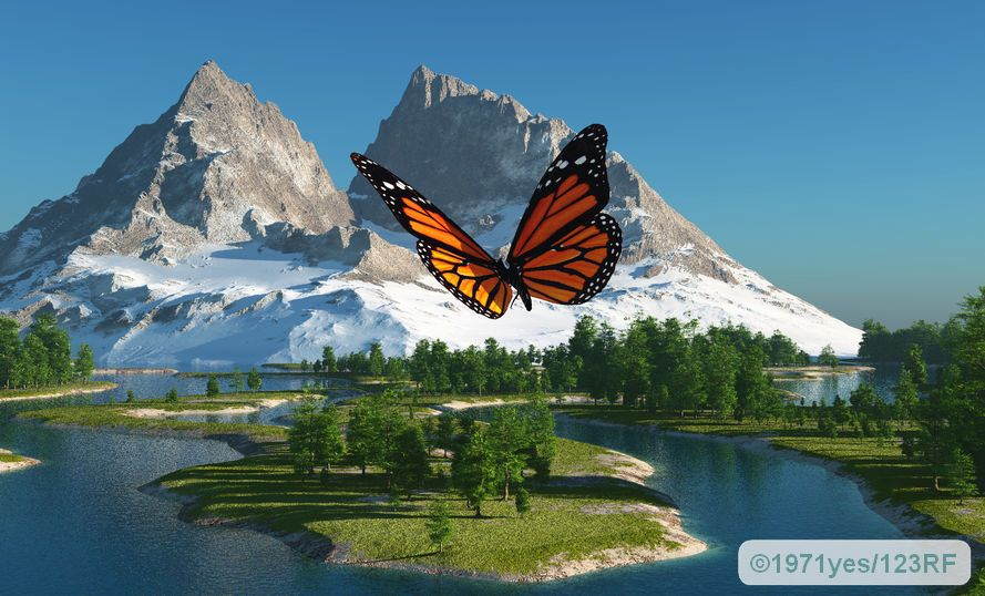 butterfly on the background of a mountain landscape - thyroid gland is like a butterfly in the anterior region of the neck.