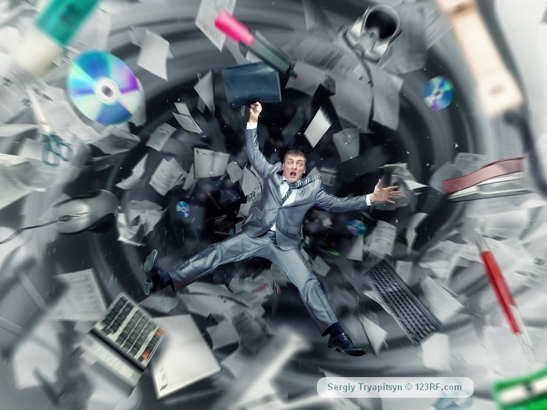 scared businessman is falling into office chaos, Copyright: nomadsoul1 / 123RF Stock Photo