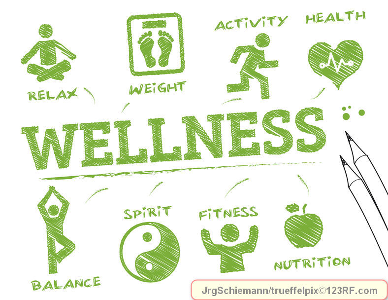 wellness. chart with keywords and icons, trueffelpix / 123RF Stock Photo