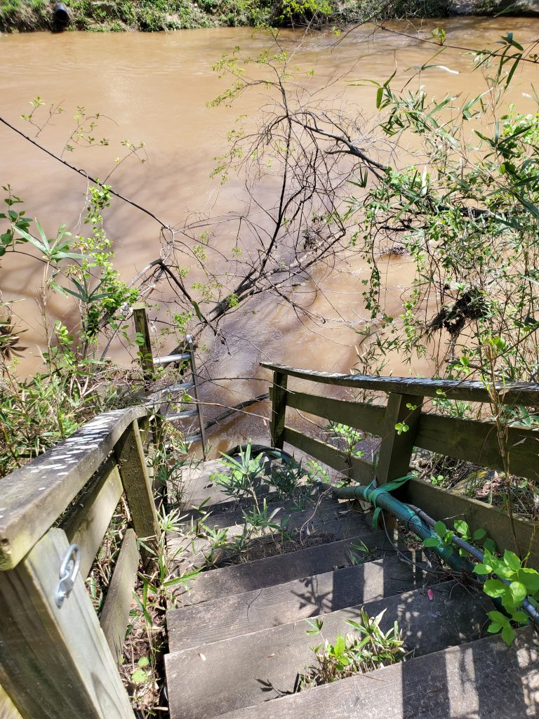 Stairways up from flooded river