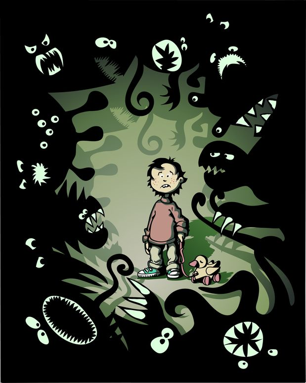 fearful little boy surrounded by fantasy monsters