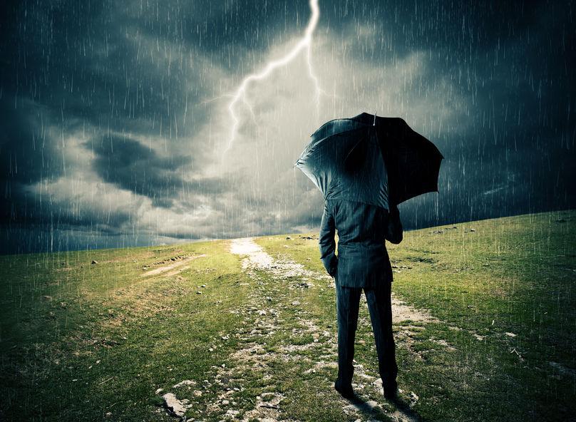 walking in a frightening rain storm