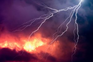 Lightning in a thunderstorm and natural disaster